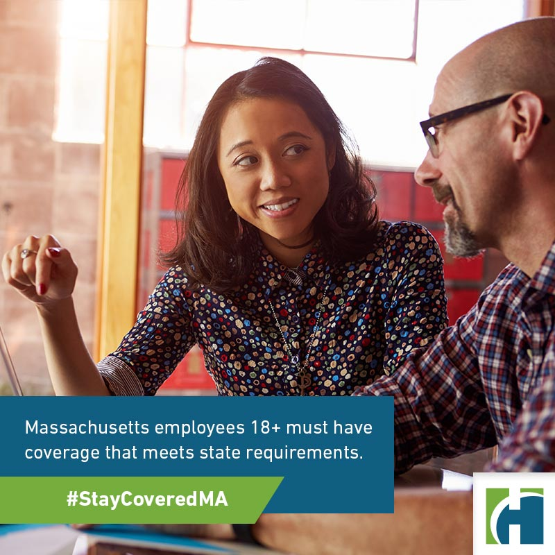 Two Designers With Laptop Meeting In Modern Office with text overlay that reads Massachusetts employees 18+ must have coverage that meets state requirements.