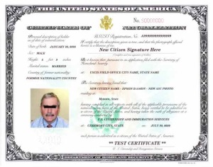 Image of Certificate of Naturalization Form N-550 or N-570