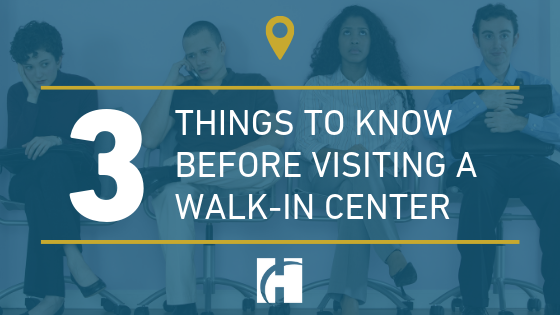 Four people sitting and waiting with the words 3 THINGS TO KNOW BEFORE VISITING A WALK-IN CENTER overlaying the image