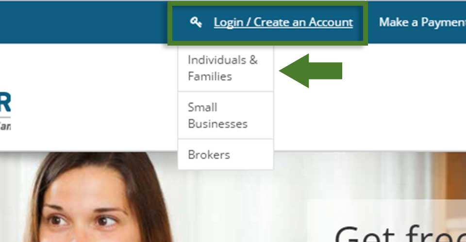 Screentshot detail of how to access the individual account portal landing page