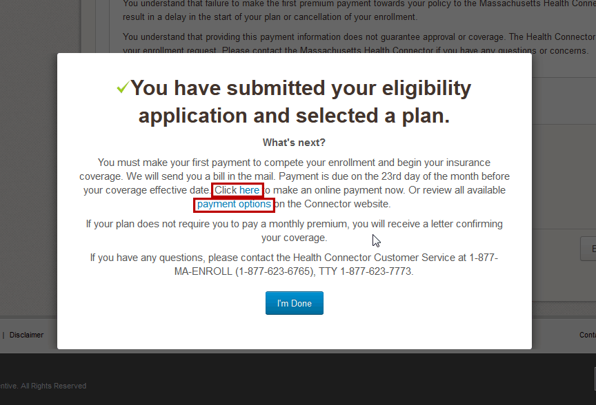 Screenshot of the Eligibility Application Submitted modal window with links highlighted