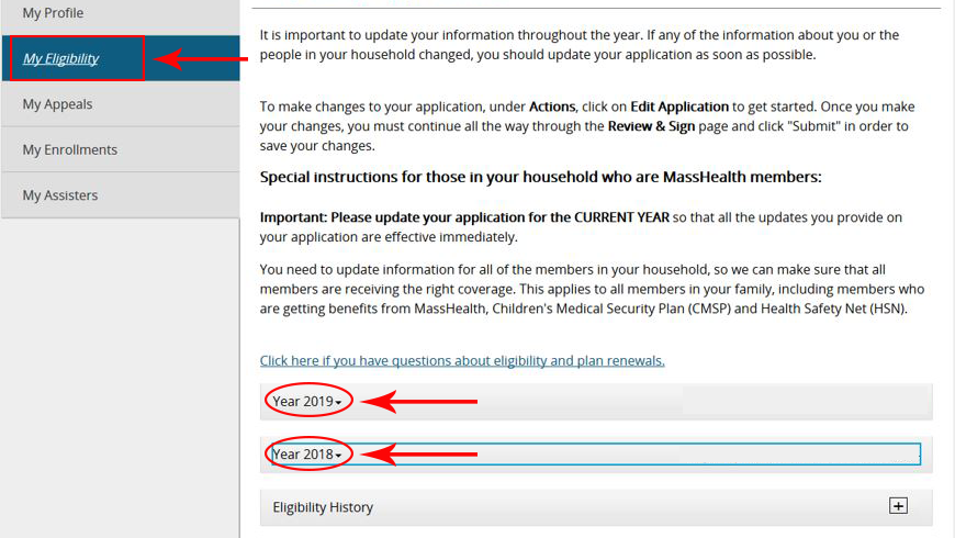 Screenshot of an example My Eligibility page that shows Year 2019 and Year 2018 application links