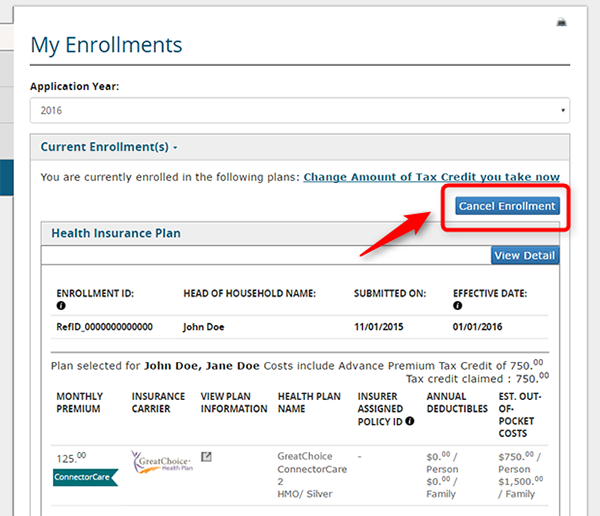 Detail of the cancel enrollment button on the My Enrollment screen in a member application
