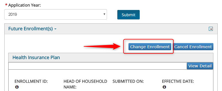 Screenshot of change enrollment button