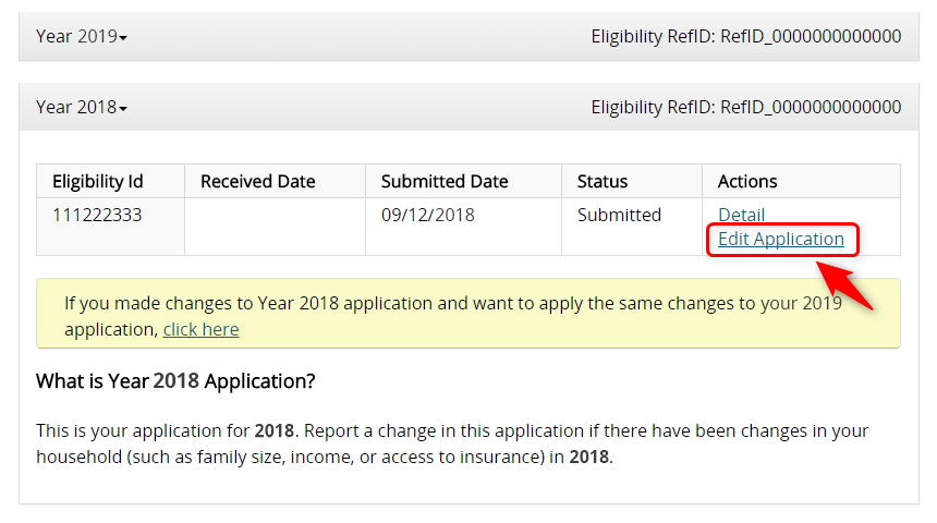 Screenshot of the Edit Application Link