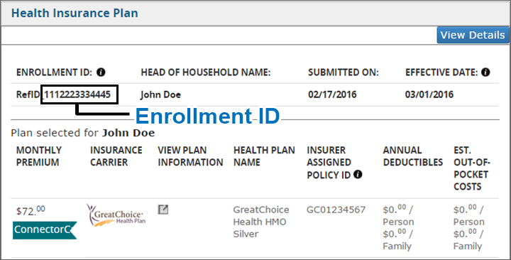 Image of page detail in application that shows Enrollment ID number on a member's My Enrollments page when they are logged in