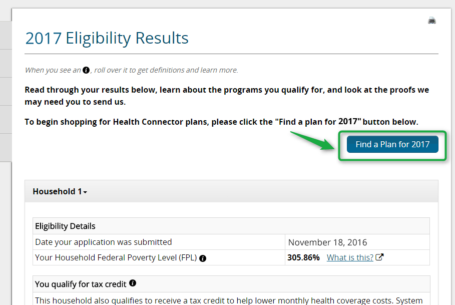 Screenshot detail of the Eligibility results page with the find a 2017 plan button highlighted