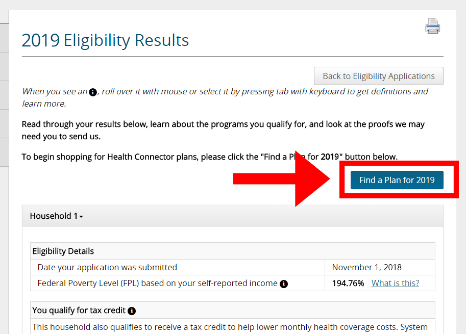 Screenshot detail of the Eligibility results page with the find a 2019 plan button highlighted