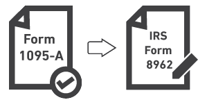 Graphic showing a representation of Form 1095A and IRS form 8962