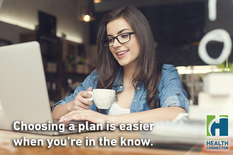 Images of a young woman at a computer with the caption Choosing a plan is easier when you're in the know.