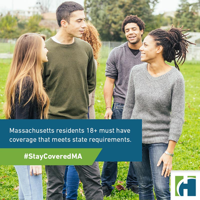A diverse group of Friends at Park with text overlay that reads Massachusetts residents 18+ must have coverage that meets state requirements.