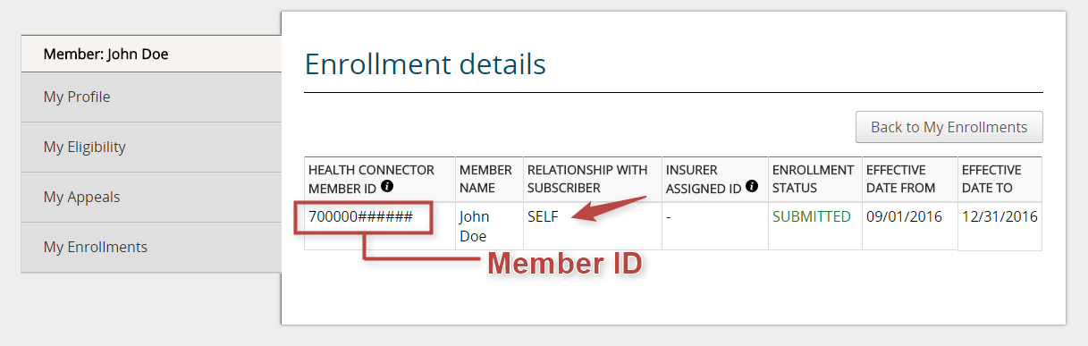 Sample Health Connector Enrollment Details page highlight member ID number