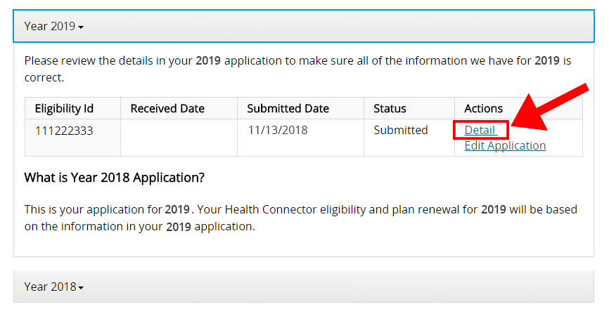 Screenshot detail of the My Eligibility landing page with the detail link highlighted