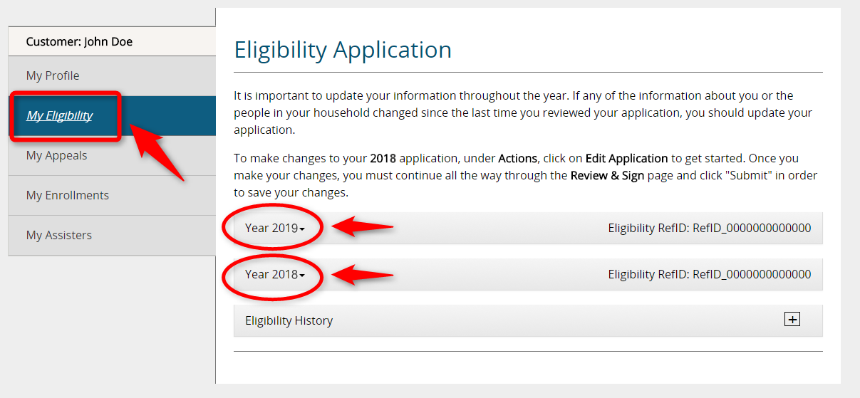 Screenshot of an example My Eligibility page that shows Year 2018 and Year 2019 application links