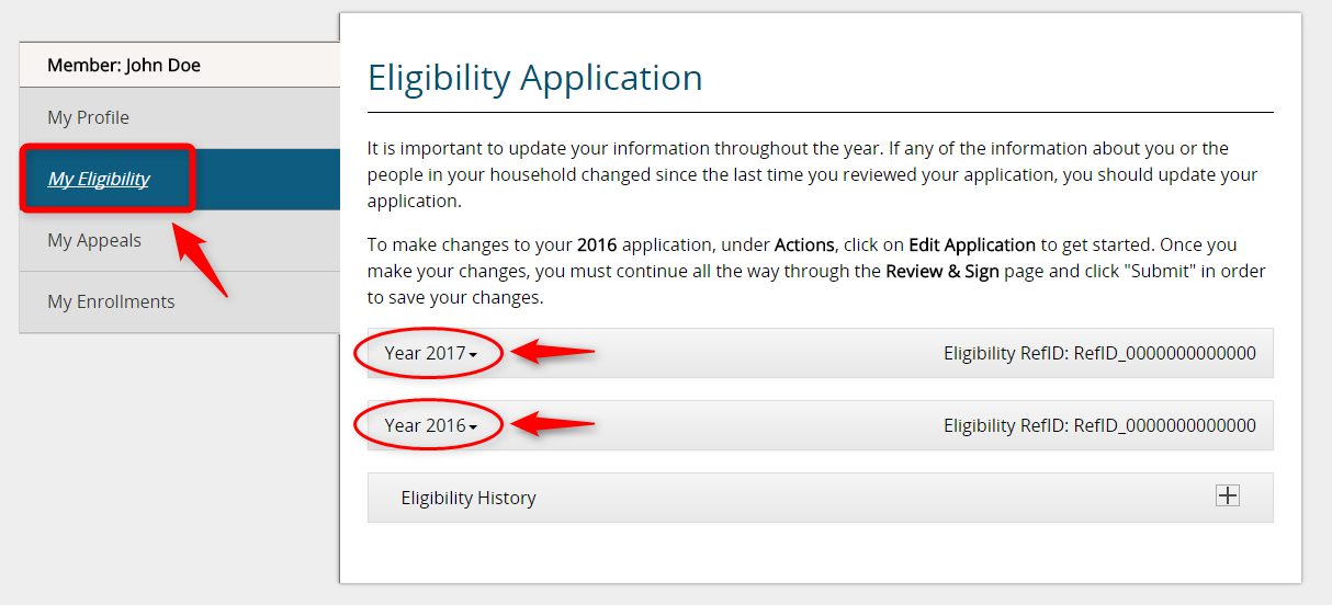 Screenshot of an example My Eligibility page that shows Year 2017 and Year 2016 application links