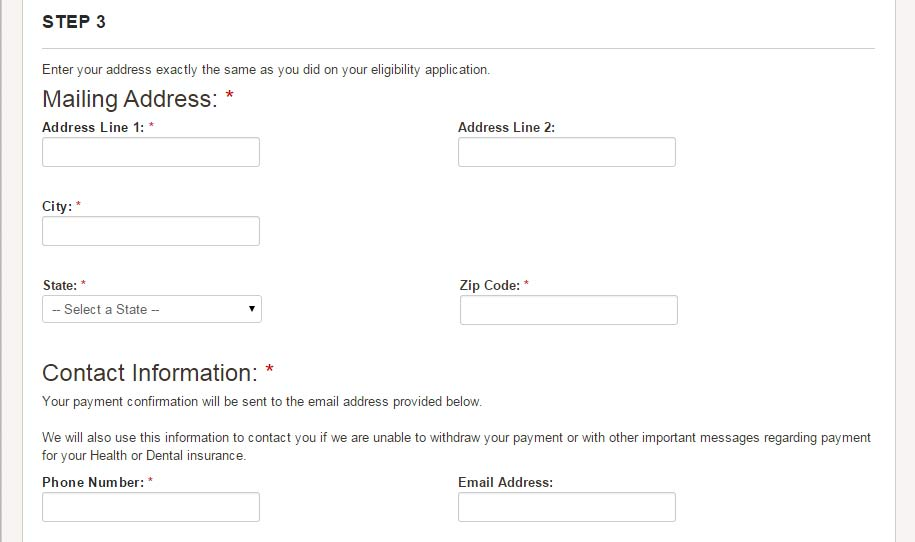 Detail of Step 3 of the online payment screen