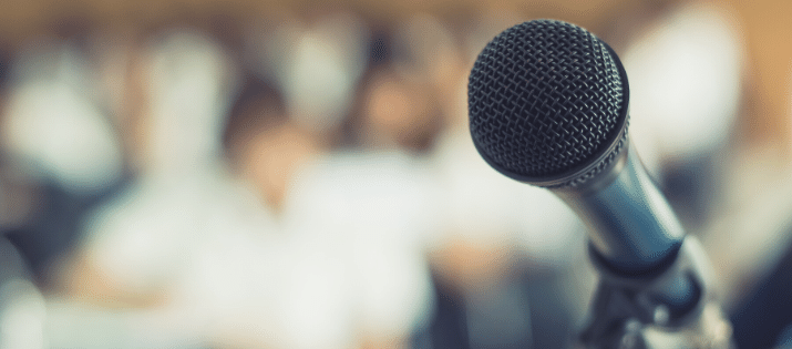 Microphone on a podium at a public hearing