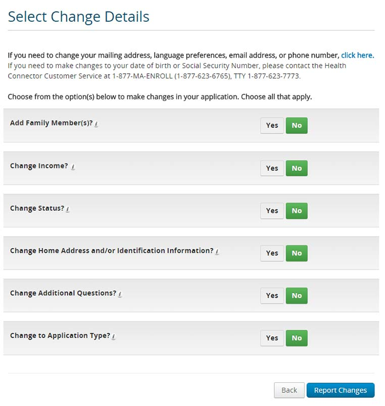 Screenshot of the Report a Change page in the application
